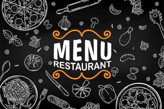 Le menu du restaurant. sur le tableau noir. ensemble. pour votre design.