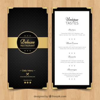 Menu élégant pour le restaurant de luxe