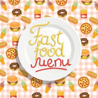Menu fast food avec plaque.