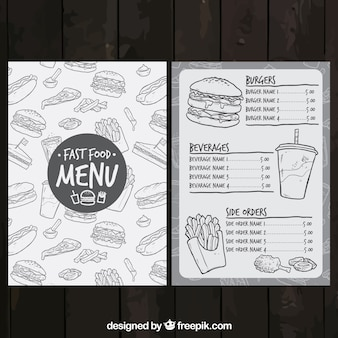 Menu fast-food sketchy