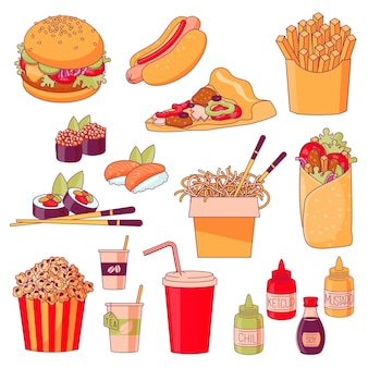 Menu fastfood plats design elemens