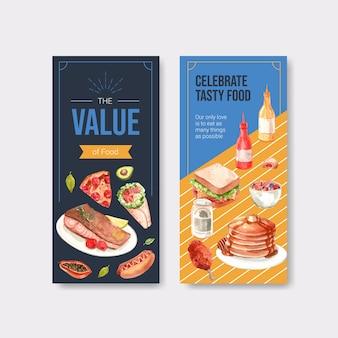 Menu et flyer avec la conception du concept de la journée mondiale de l'alimentation pour le restaurant et l'aquarelle de dépliant