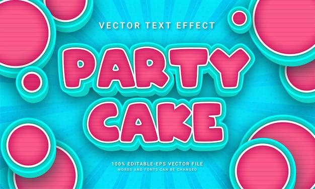 Menu de gâteau sur le thème de l'effet de style de texte de gâteau de fête