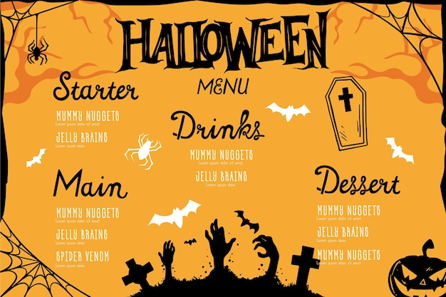 Menu halloween design dessiné à la main