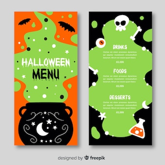 Menu d'halloween dessiné à la main