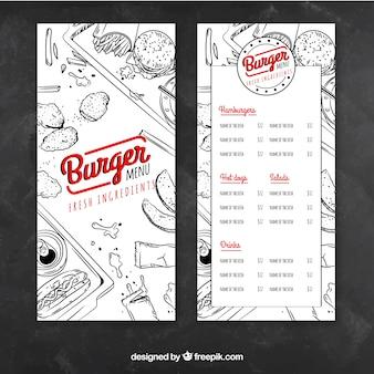Menu des hamburgers avec dessins
