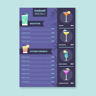 Menu d'illustration de cocktail