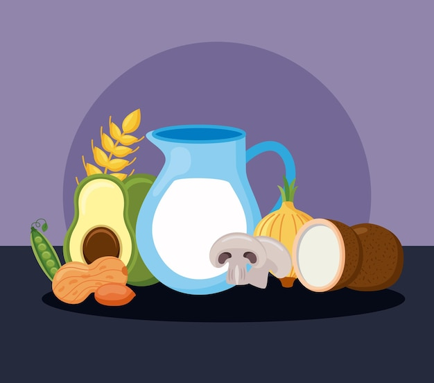 Menu d'ingrédients diététiques huit minéraux