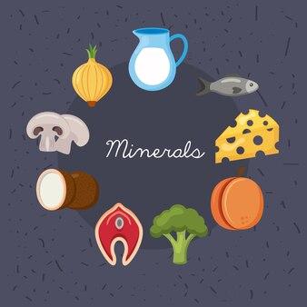 Menu d'ingrédients de régime de minéraux autour