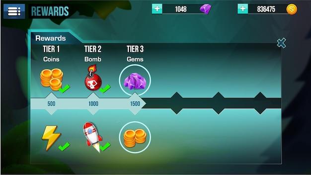 Le menu de l'interface utilisateur du jeu fantasy apparaît