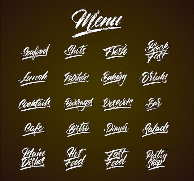 Menu de lettrage à la craie sur tableau noir ka idée pour cafés, bistrots, restaurants. illustration vectorielle.