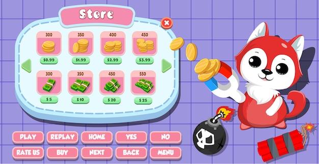 Menu de magasin d'interface utilisateur de jeu occasionnel pour enfants avec pièces de monnaie, or, étoiles, boutons et chat