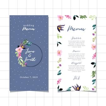 Menu de mariage avec beau cadre aquarelle floral