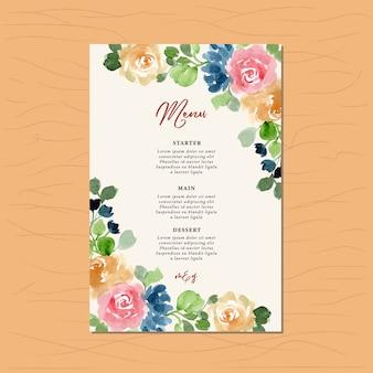Menu de mariage avec cadre floral aquarelle
