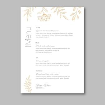 Menu de mariage floral minimal