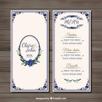 Menu de mariage d'ornement