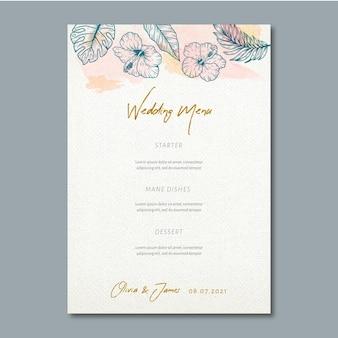 Menu de mariage avec ornements floraux