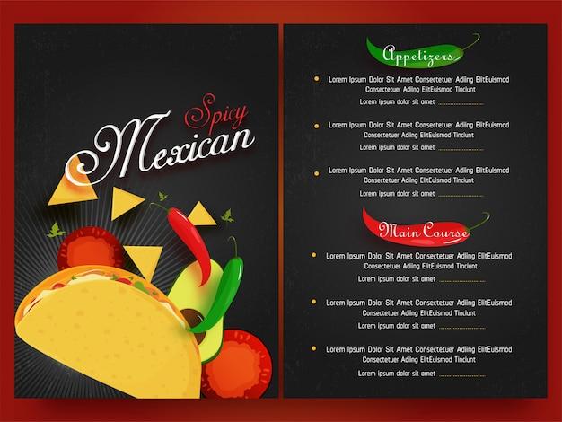 Menu mexicain pour le restaurant et le café.