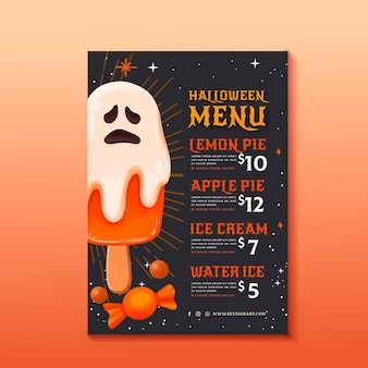 Menu de modèle aquarelle halloween