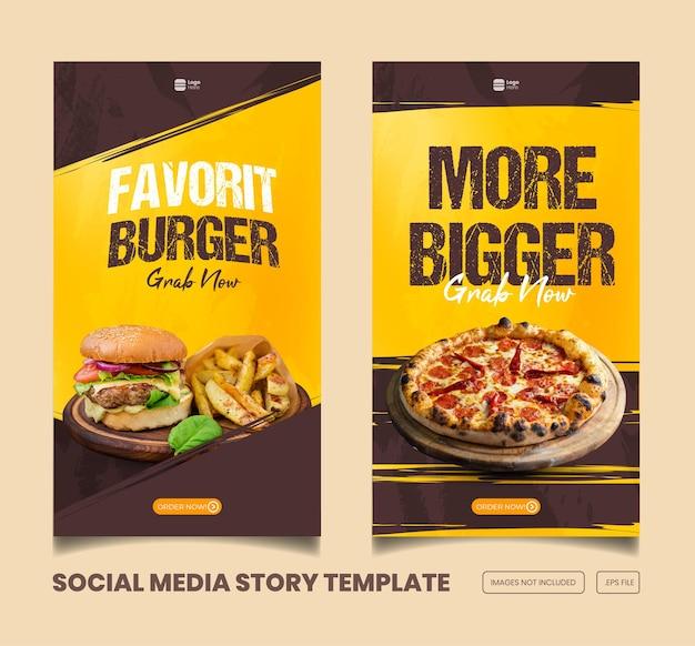 Menu de nourriture et délicieux modèle d'histoire et de bannière instagram et facebook