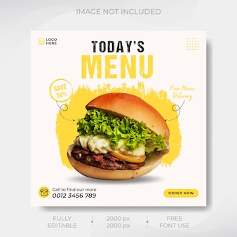 Menu de nourriture élégant médias sociaux modèle de publication instagram vecteur premium
