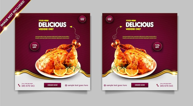 Menu de nourriture de luxe délicieux poulet ensemble de modèles de publication de bannière de médias sociaux