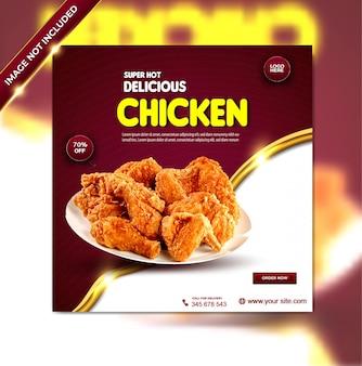 Menu de nourriture de luxe délicieux poulet instagram ensemble de modèles d'histoire facebook