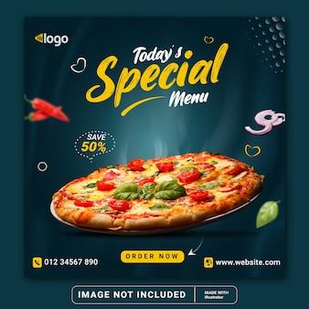 Menu de nourriture et modèle de bannière de publication instagram de médias sociaux de restaurant ou flyer carré