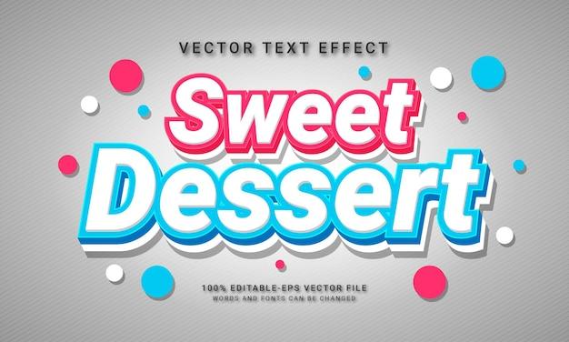 Menu de nourriture sucrée de restaurant sur le thème de l'effet de style de texte modifiable du désert sucré