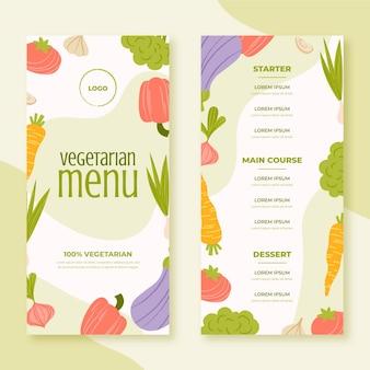 Menu de nourriture végétarienne dessiné à la main