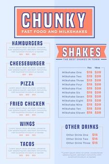 Menu numérique de restauration rapide et milkshakes