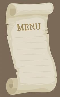 Menu papier vide dessin animé pour restaurant
