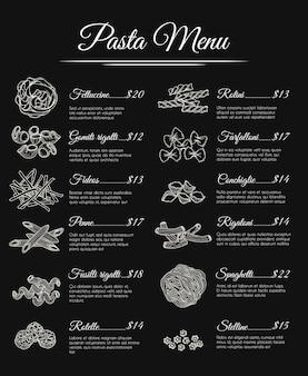 Menu de pâtes dessiné à la main