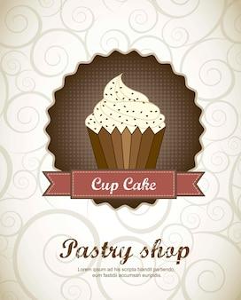 Menu de pâtisserie avec illustration vectorielle de tasse cake