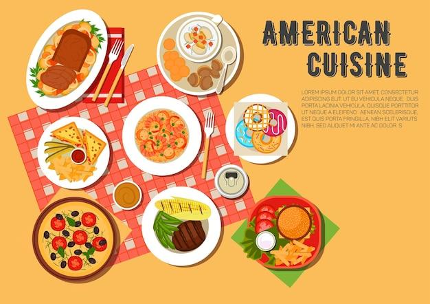 Menu pique-nique de cuisine américaine avec cheeseburger, sandwichs chauds, servi avec frites et sauces, pizza végétarienne