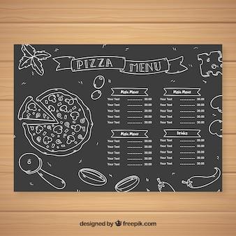 Menu de pizza à la craie