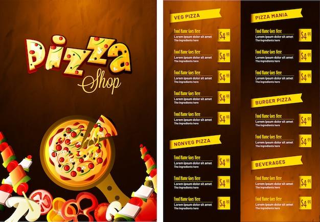 Menu de pizza pour le restaurant et le café.