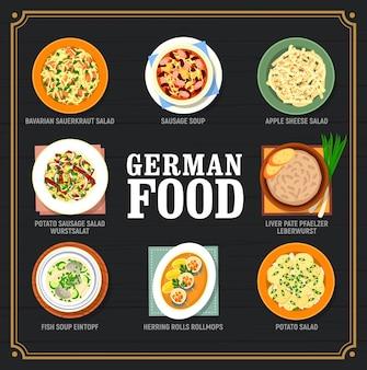 Menu de plats de cuisine allemande et allemande. assiettes traditionnelles bavaroises