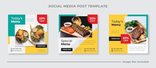Menu de plats délicieux et modèle de publication sur les réseaux sociaux du restaurant