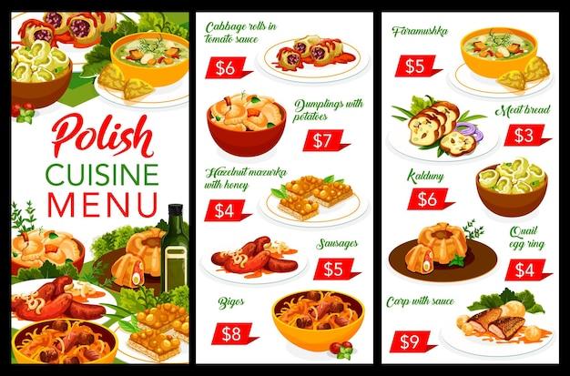 Menu De Plats Et De Plats De Restaurant De Cuisine Polonaise Vecteur Premium