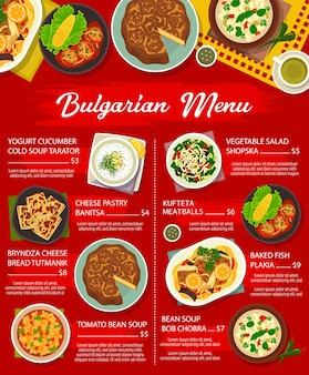 Menu de plats de restaurant de cuisine bulgare. bob chobra et soupe froide de concombre au yogourt tarator, pâtisserie au fromage banitsa, pain bryndza tutmanik et poisson plakia, boulettes de viande kufteta, salade shopska vecteur