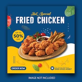 Menu de poulet et bannière de médias sociaux de restaurant ou modèle de publication