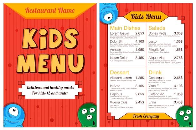 Menu de repas pour enfants colorés mignons avec des monstres