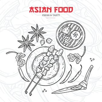 Menu de restaurant asiatique dessinés à la main