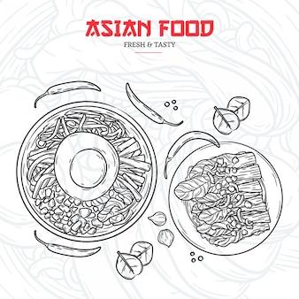 Menu de restaurant asiatique dessinés à la main