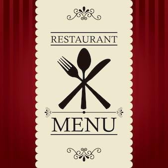 Menu de restaurant au cours de l'illustration vectorielle fond rouge