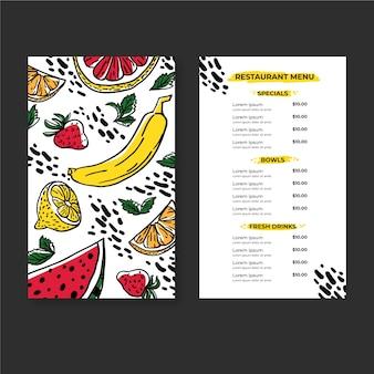 Menu de restaurant de boissons et d'aliments frais et sains biologiques
