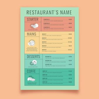 Menu de restaurant coloré modèle