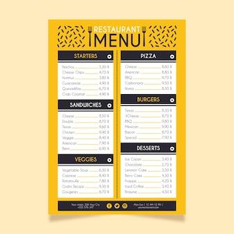 Menu de restaurant concept numérique