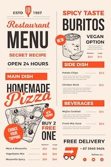 Menu de restaurant créatif pour une utilisation numérique illustré